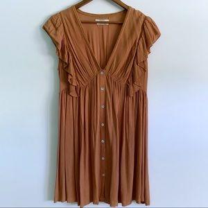 Pull&Bear Women Brown Ruffle Summer Dress